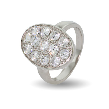 Bella's Twilight Inspired Oval Pave CZ Wedding Ring