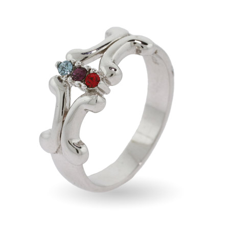 Engravable 3 Stone Vintage Style Custom Birthstone Sterling Silver Ring
