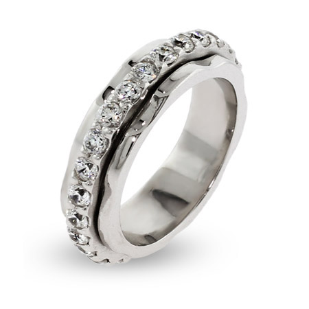 Sterling Silver Spinner Ring with CZ Band