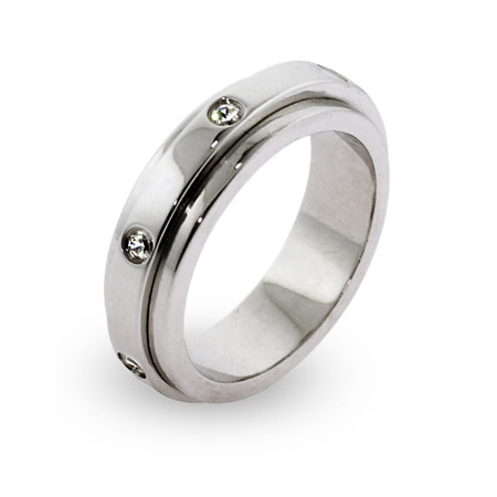 Engravable Seven Stone CZ Sterling Silver Spinner Ring