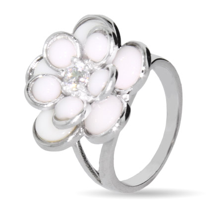 Sterling Silver White Rose Blossom Ring