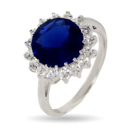 Princess Diana Inspired Round Sapphire CZ Engagement Ring