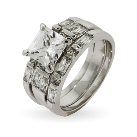 Princess Cut Three Ring Engagement Set