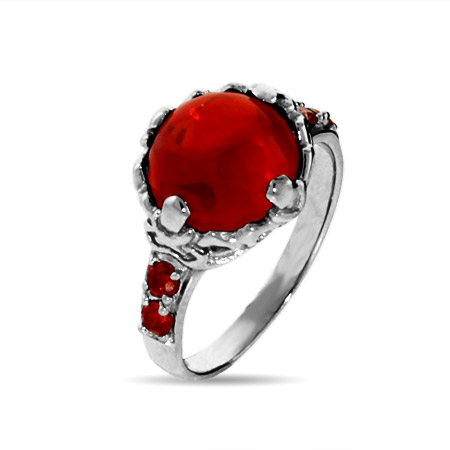 The Sorcerer's Magical Red Crystal Sterling Silver Ring