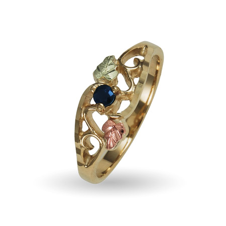 10K Black Hills Gold 1 Stone Family Birthstone Ring