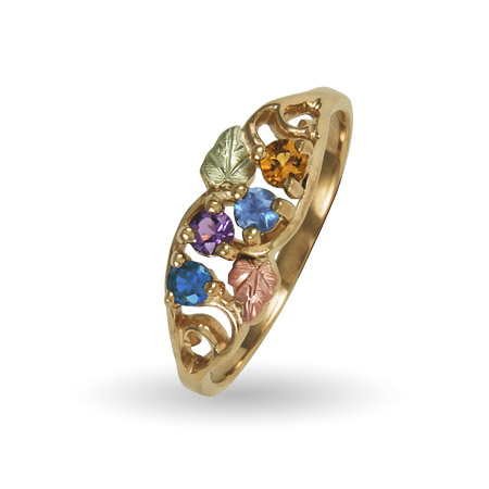 10K Black Hills Gold 4 Stone Family Birthstone Ring