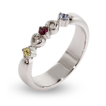 3 Stone Petite Sterling Silver Engravable Birthstone Ring