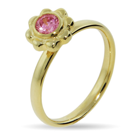 EvesAddiction.com Vermeil Pink CZ Flower Stackable Ring - Clearance Final Sale at Sears.com