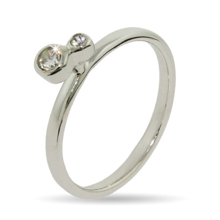 Stackable Reflections Double Bezel CZ Silver Stackable Ring