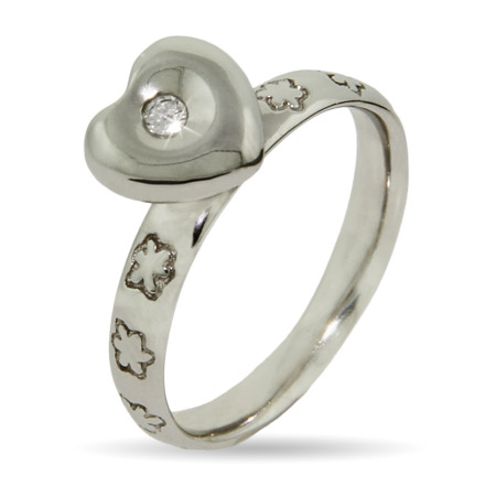 Stackable Reflections Sparkling Heart Silver Stackable Ring