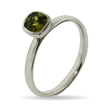 Stackable Reflections Peridot Cushion Cut CZ Stackable Ring