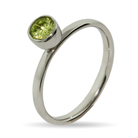 Stackable Reflections Bezel Set Peridot CZ Stackable Ring