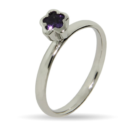 Stackable Reflections Amethyst Flower Silver Stackable Ring
