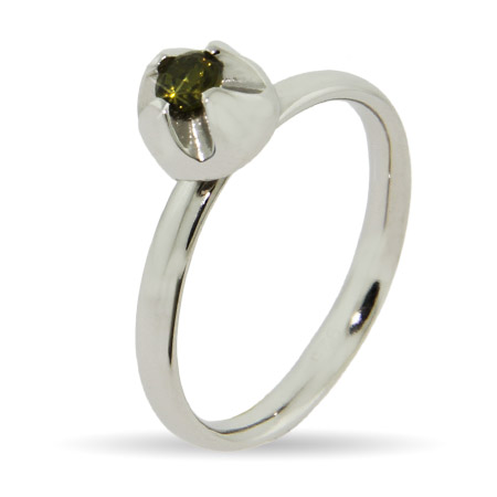 Stackable Reflections Peridot Flowerbud Stackable Ring