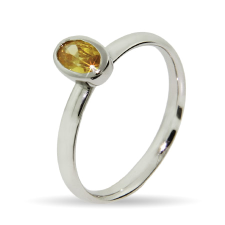 Stackable Reflections Oval Canary CZ Silver Stackable Ring