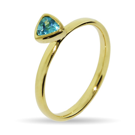 Stackable Reflections Gold Vermeil Blue Topaz CZ Stackable Ring