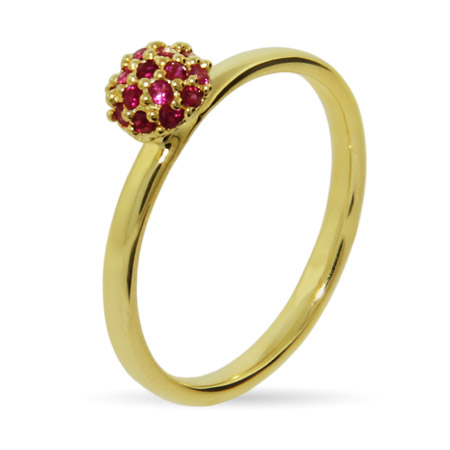 Stackable Reflections Gold Vermeil Raspberry CZ Stackable Ring