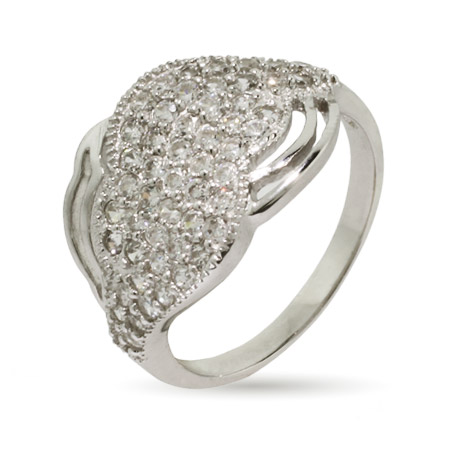 Sparkling Micropave CZ Cloud Sterling Silver Ring