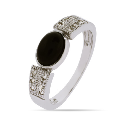 Contemporary Style Oval Onyx Sterling Silver Ring with CZ Accents