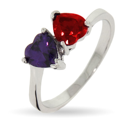Close to the Heart Sterling Silver 2 Stone Loving Hearts Couples Birthstone Ring