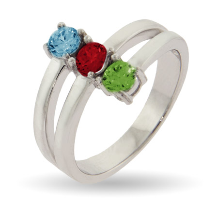 Close to the Heart Sterling Silver 3 Stone Mothers Birthstone Ring
