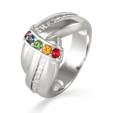 5 Stone Custom Birthstone Sterling Silver Mother's Love Knot Ring