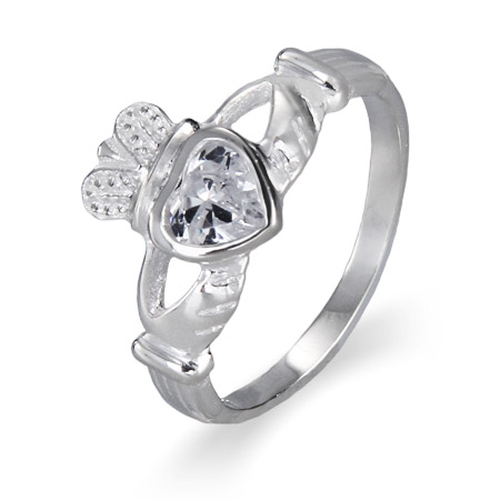 Sterling Silver Clear CZ Claddah Ring
