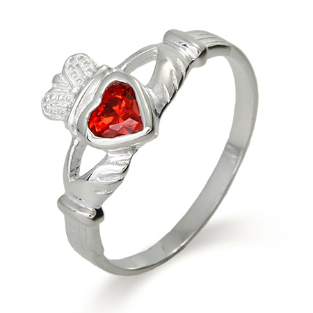 Sterling Silver Ruby CZ Claddagh Ring