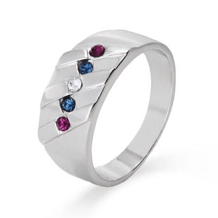 5 Stone Men's Family Birthstone Sterling Silver Ring
