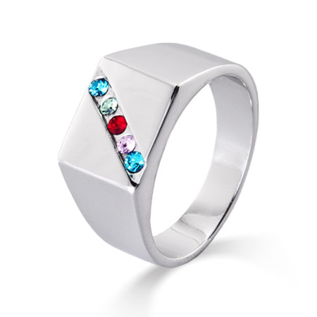 5 Stone Men's Custom Family Birthstone Austrian Crystal Ring