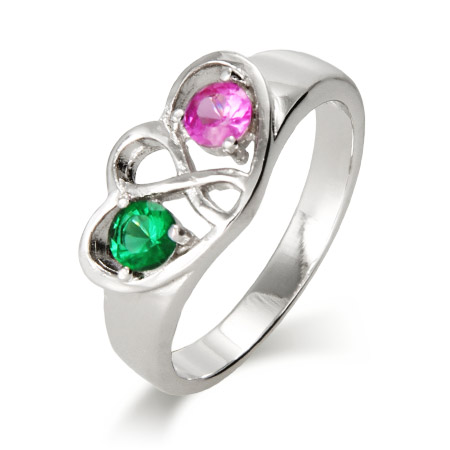 Close To The Heart 2 Stone Infinity Design Custom Birthstone Ring