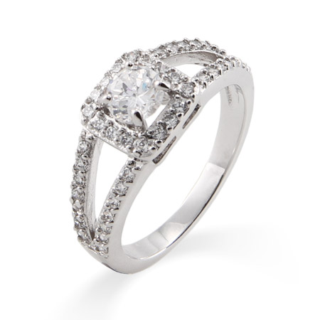 Vintage Style Round Cut CZ Promise Ring with Split Band