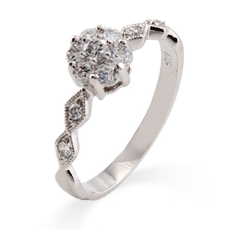 Precious Flower and Sway Band CZ Promise Ring