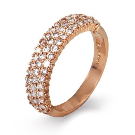 Sparkling Diamond CZ Three Row Rose Gold Vermeil Ring