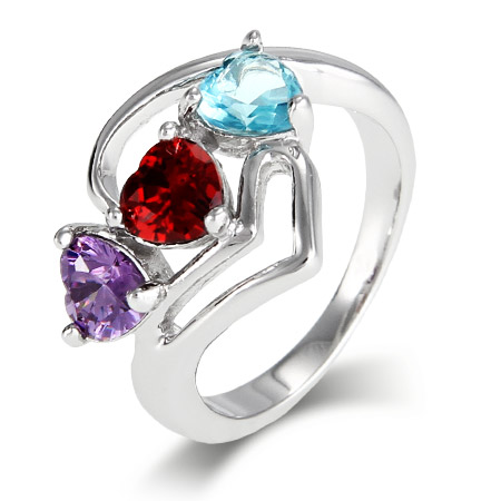 Close To The Heart 3 Stone Modern Hearts Birthstone Ring