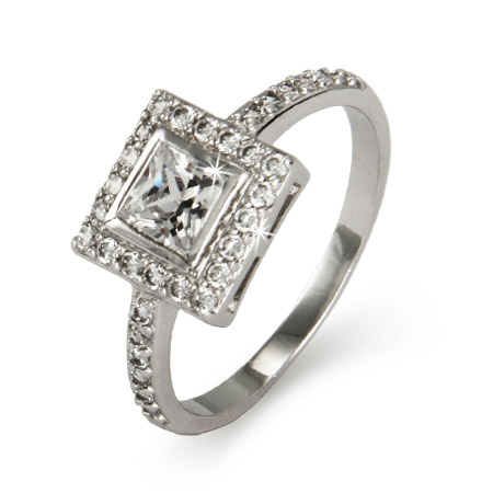 Sterling Silver Bezeled Princess Cut CZ Ring