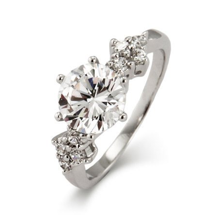 Sterling Silver 2 Carat Brilliant Cut CZ Engagement Ring