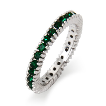 Stackable Reflections Sparkling May Emerald Birthstone Stackable Ring