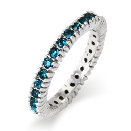 Stackable Reflections Sparkling December Blue Zircon Birthstone Stackable Ring