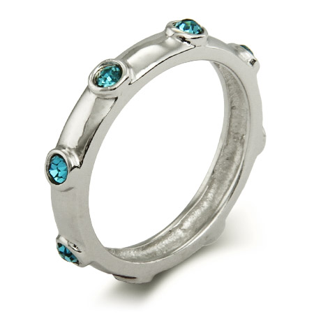 Stackable Reflections Aquamarine March Birthstone Bezeled Ring