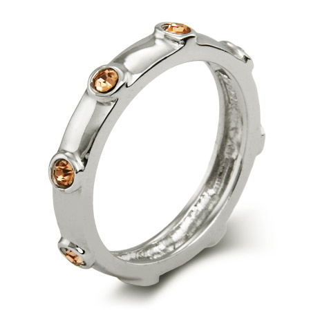 Stackable Reflections Citrine November Birthstone Bezeled Ring