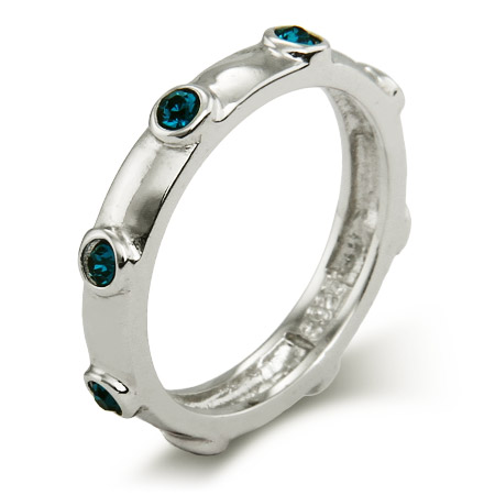 Stackable Reflections Blue Zircon December Birthstone Bezeled Ring