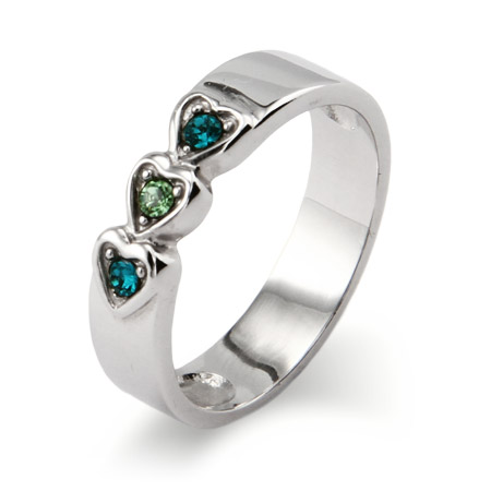 3 stone Austrian Crystal Band of Hearts Family Birthstone Ring