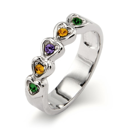 5 stone Austrian Crystal Band of Hearts Family Birthstone Ring