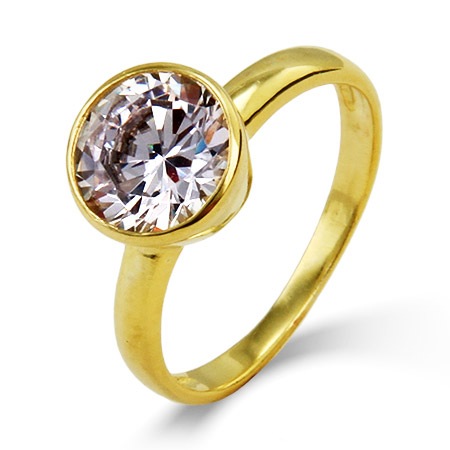 Tiffany Inspired Gold Vermeil Solitaire Bezel Set CZ Ring