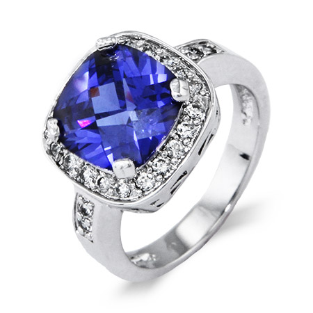 Stunning Cushion Cut Tanzanite CZ Cocktail Ring