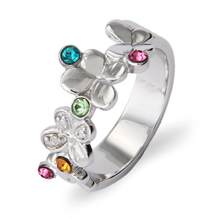 5 Stone Fluttering Butterflies Sterling Silver Custom Birthstone Ring
