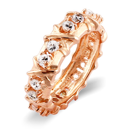Tiffany Inspired 16 Stone Rose Gold Vermeil X Ring