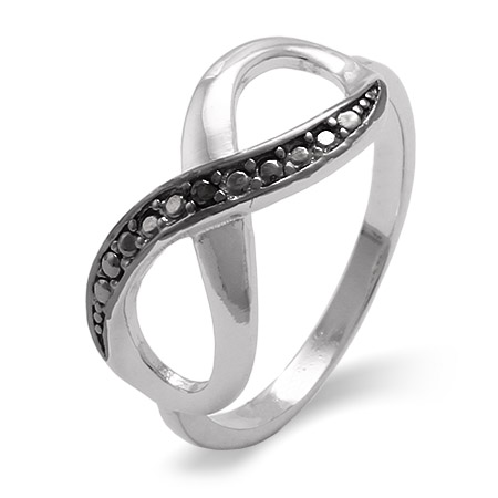 Sterling Silver Black Cubic Zirconia Infinity Ring