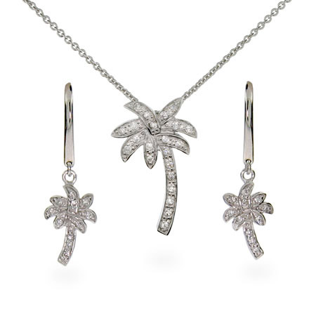 Palm Tree Necklace and Earring Set